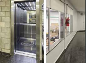 El ascensor ultra moderno de la planta